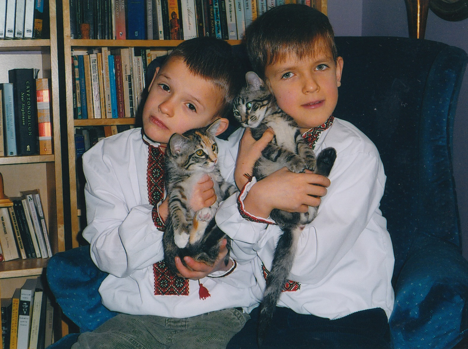 Bodhan and Peter with cats